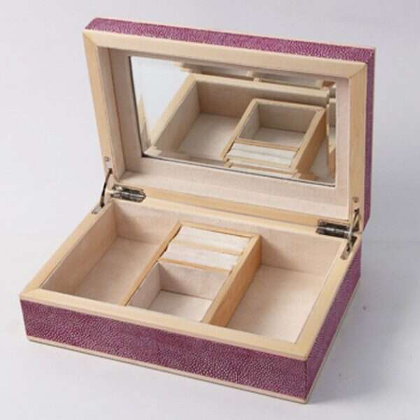 Ansley Jewellery Box in Pink Shagreen by Forwood Design 3