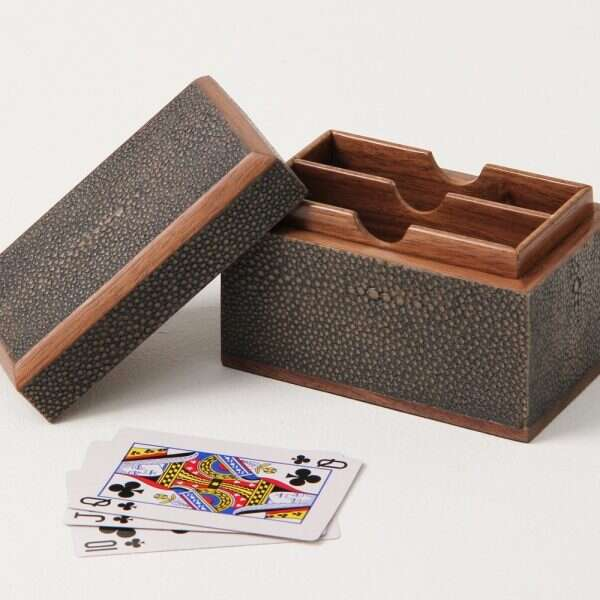 Playing Card Box in Seal Brown Shagreen by Forwood Design 3