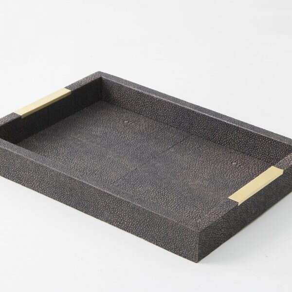 Holmes Desk Tray in Seal Brown Shagreen by Forwood Design 1