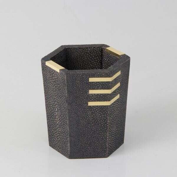 Holmes Pen Pot in Seal Brown Shagreen by Forwood Design 5