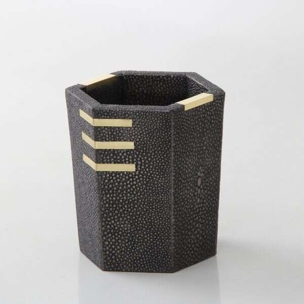 Holmes Pen Pot in Seal Brown Shagreen by Forwood Design 4