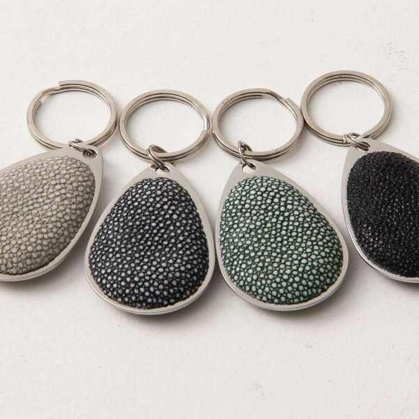 'Pear Drop' Key Fobs in Shagreen gift present