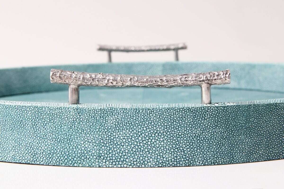 Oval Serving Trays in Teal Shagreen by Forwood Design 5