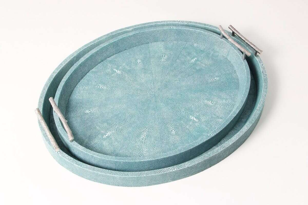 Oval Serving Trays in Teal Shagreen by Forwood Design 4