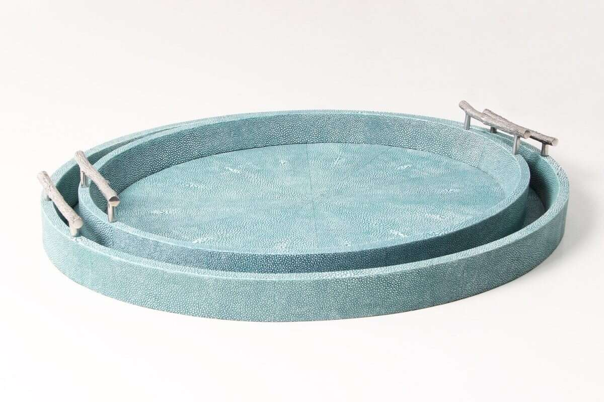 Oval Serving Trays in Teal Shagreen by Forwood Design 3