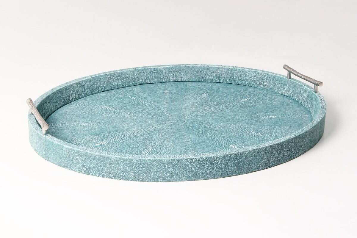 Oval Serving Trays in Teal Shagreen by Forwood Design 1