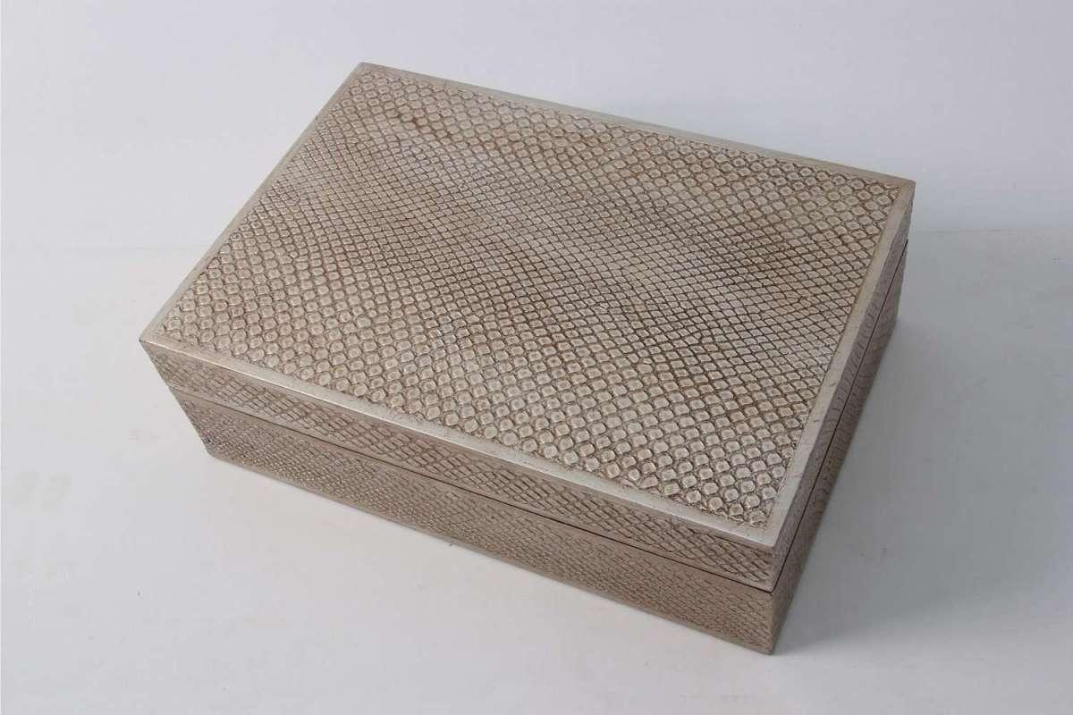 Ansley Jewellery Box in Silve3r Boa