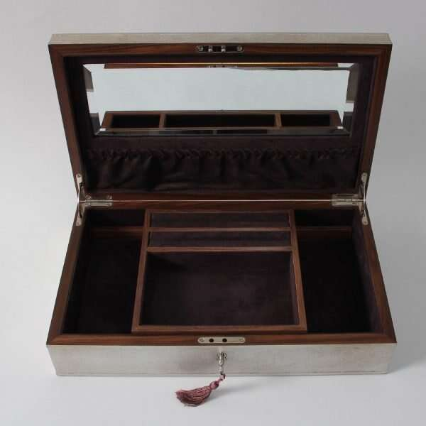 Avalon Jewellery Box in Silver Linen by Forwood Design 3
