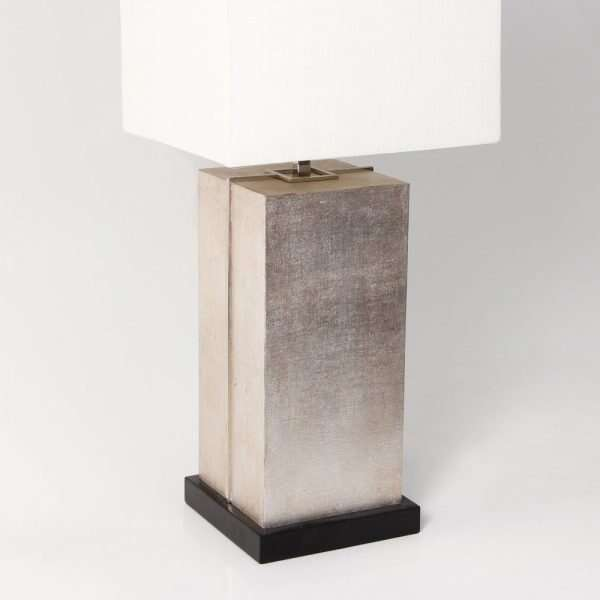 Laken Table Lamp in Silver Linen by Forwood Design 2