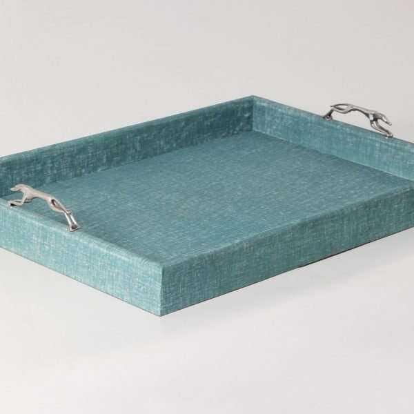 Linen Teal Tray with Greyhound Handles 1