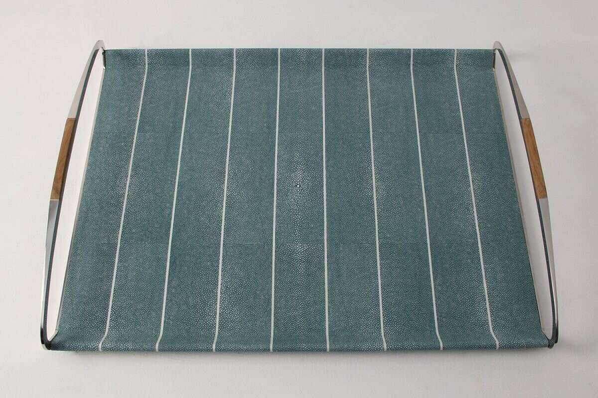 Jules Serving & Drinks Trays in Teal Shagreen by Forwood Design 5