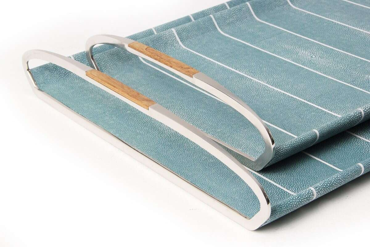 Jules Serving & Drinks Trays in Teal Shagreen by Forwood Design 3