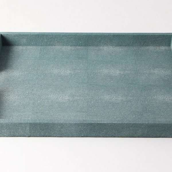 Brigitte Drinks & Serving Tray in Teal Shagreen by Forwood Design 6