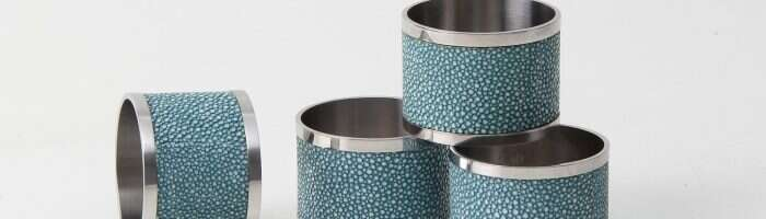 Napkin Rings in Teal Shagreen by Forwood Design 5