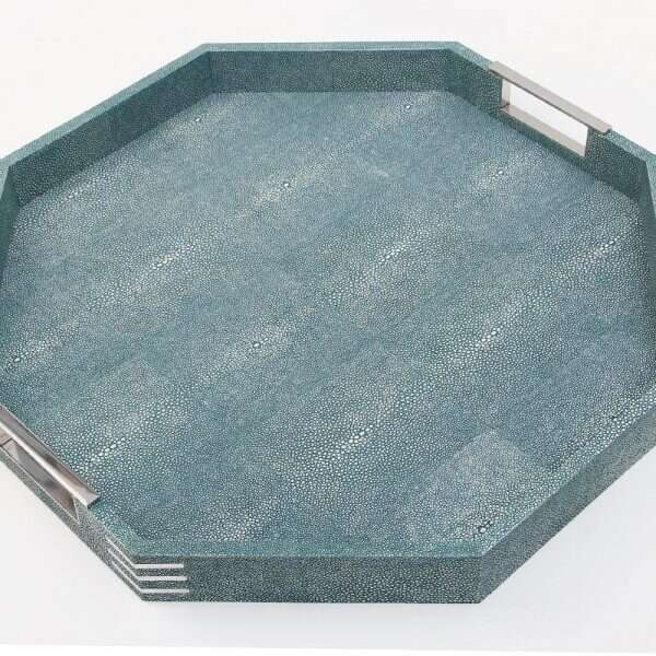 Brigitte Octagonal Serving Tray in Teal Shagreen by Forwood Design 8