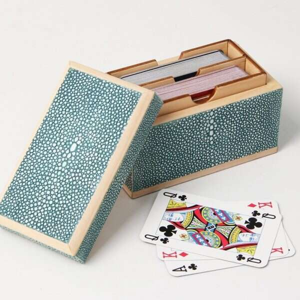Playing Card Box in Teal Shagreen by Henry Forwood