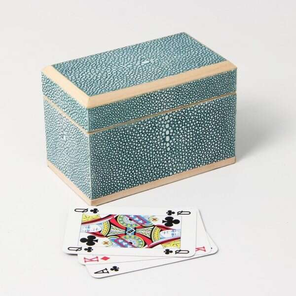 Playing Card Box in Teal Shagreen 1
