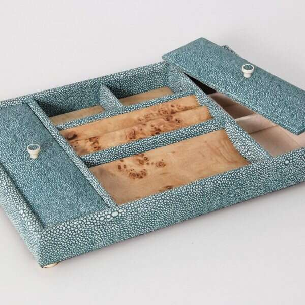 Melford Jewellery Tray in Teal Shagreen by Forwood Design 5