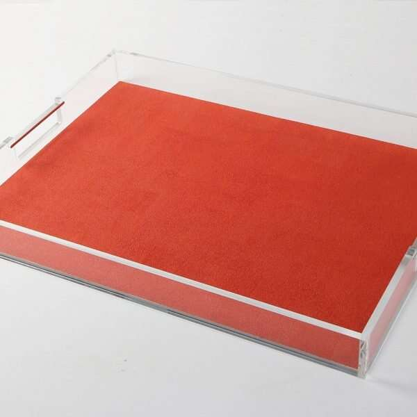 Acrylic Contemporary Tray in Tigerlily Orange Shagreen by Forwood Design 1