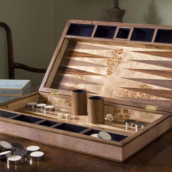faux leather backgammon board in coral shagreen