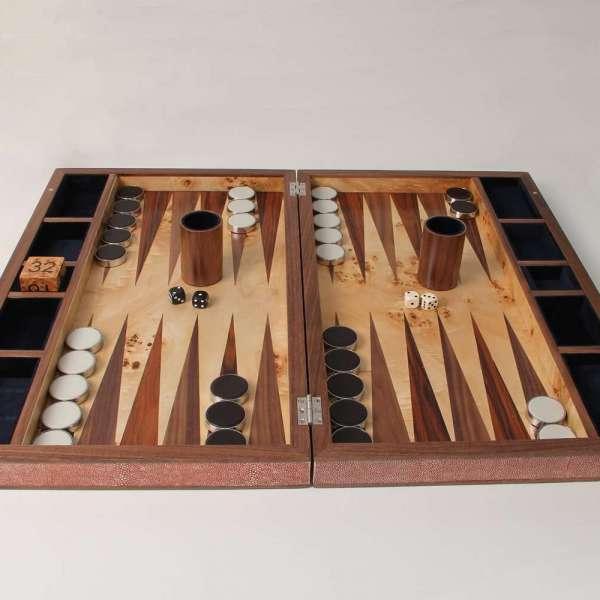 Backgammon set in faux leather shagreen