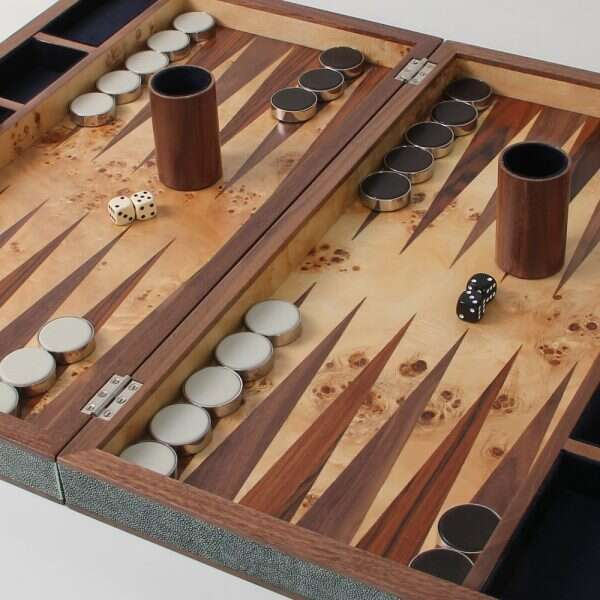 backgammon set in Lincoln green leather