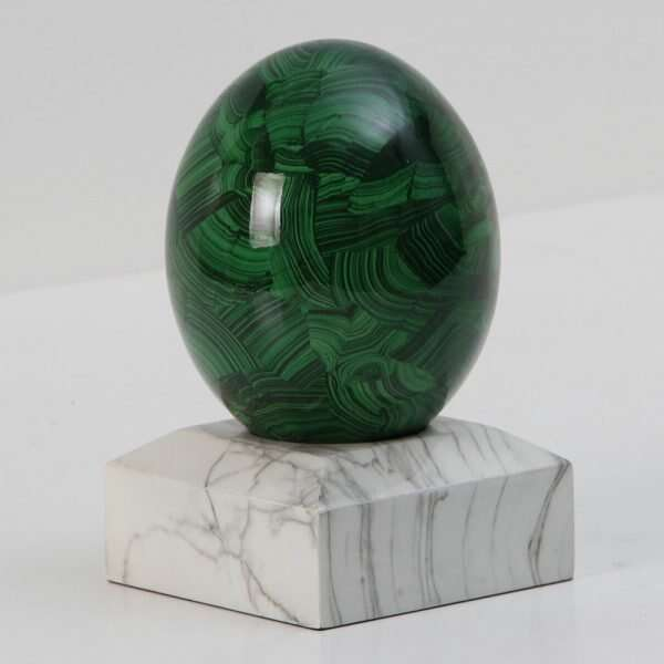 Malachite Ostrich Egg Sculpture by Forwood Design 3