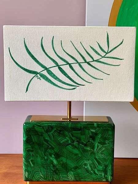 Kitty Arden's 'Palm Leaf' Silk Block Lamp Shade 1