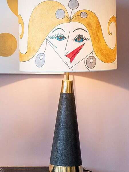 Kitty Arden's 'Ladies 1' Silk Drum Lamp Shade 1