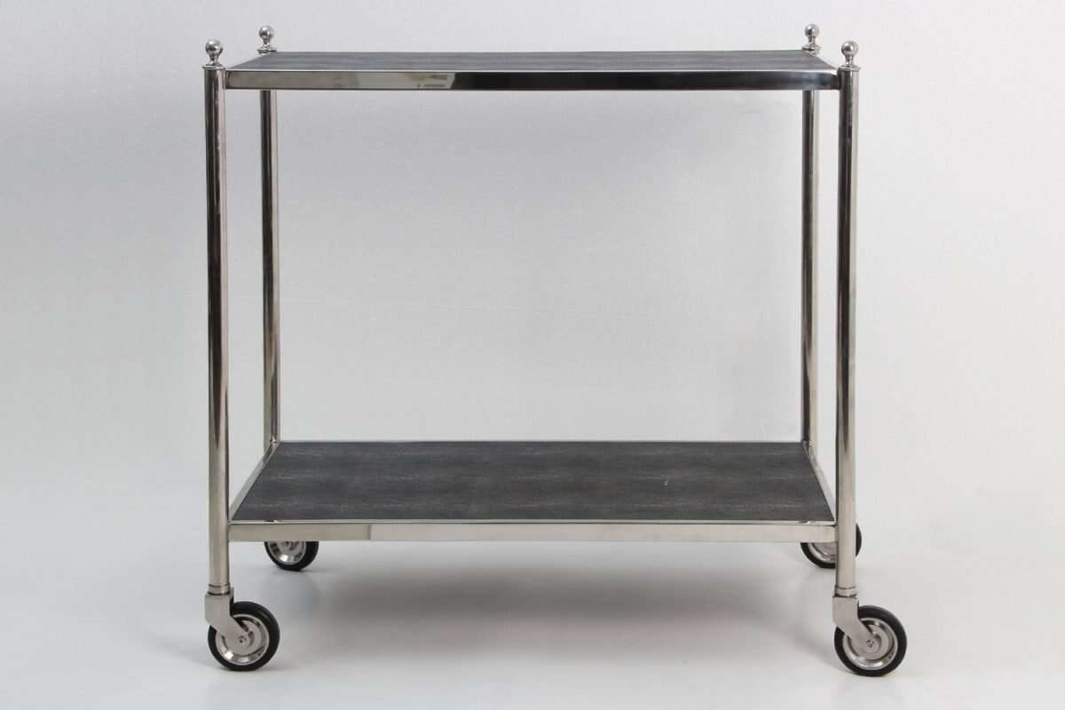 Charcoal Shagreen Drinks Trolley Bar Cart