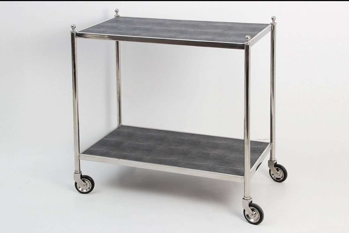 Cliveden Charcoal Shagreen Drinks Trolley Bar cart