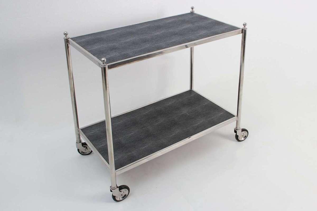 Shagreen Trolley Bar Cart