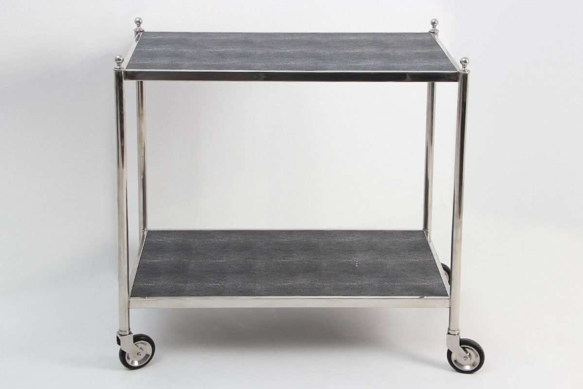 Cliveden Charcoal Shagreen drinks Trolley