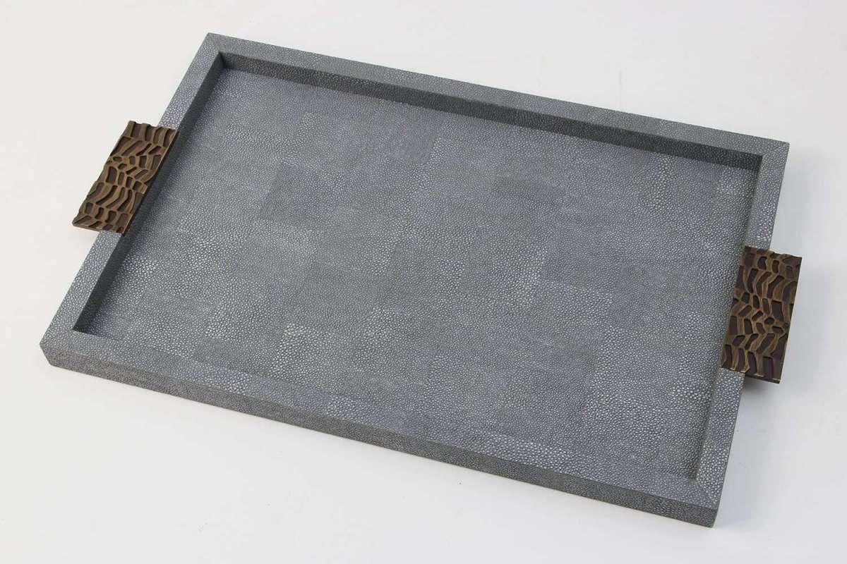 Luxury 'Midnight' Shagreen Drinks Trays