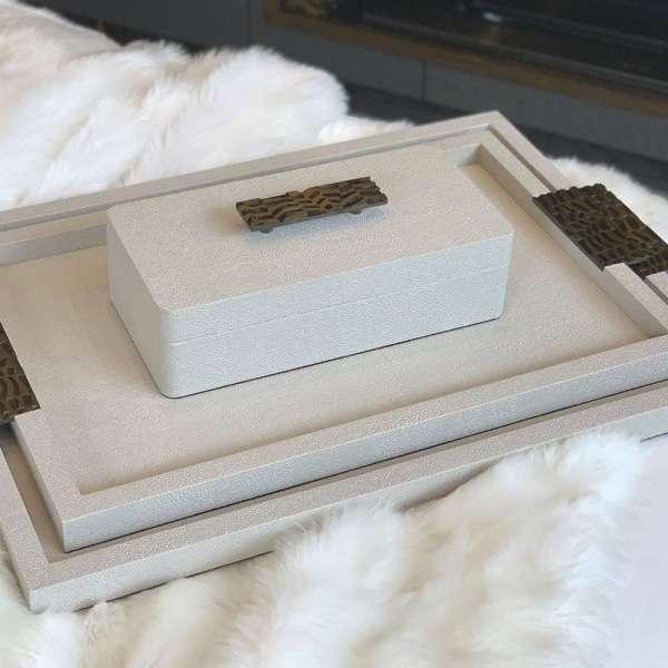 Rachel Winham's Linen White Shagreen Drinks Tray 01