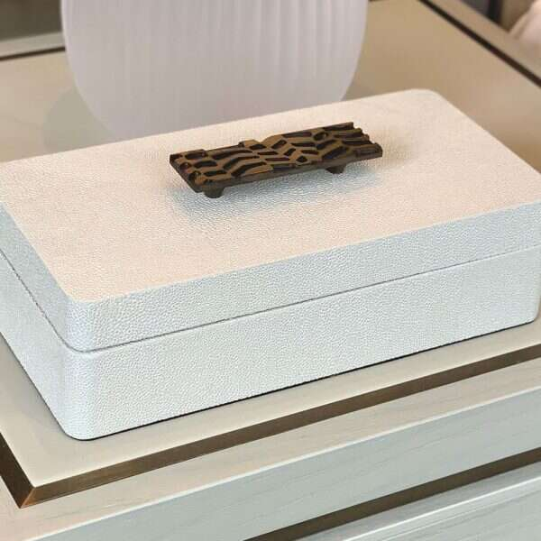 Rachel Winham's Linen White shagreen treasure box 7