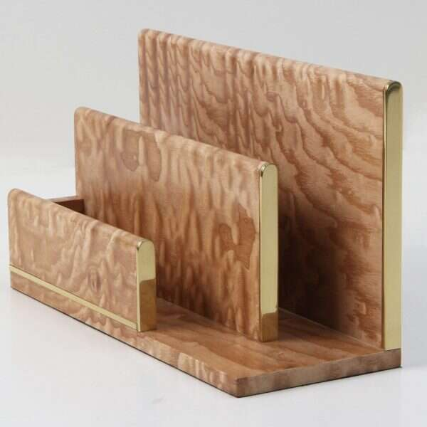 Letter rack in brass and wood