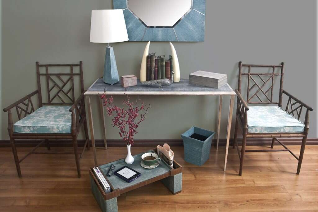 Hallway with console table and mirror
