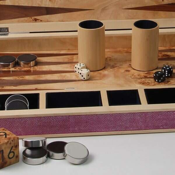 wooden backgammon set with a Pink shagreen case
