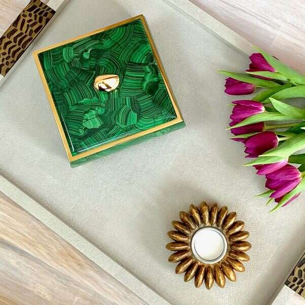 birds eye of sophie jewellery box in malachite, candle holder and drinks tray
