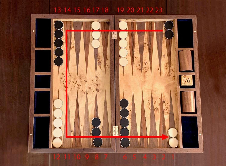 Set up backgammon set