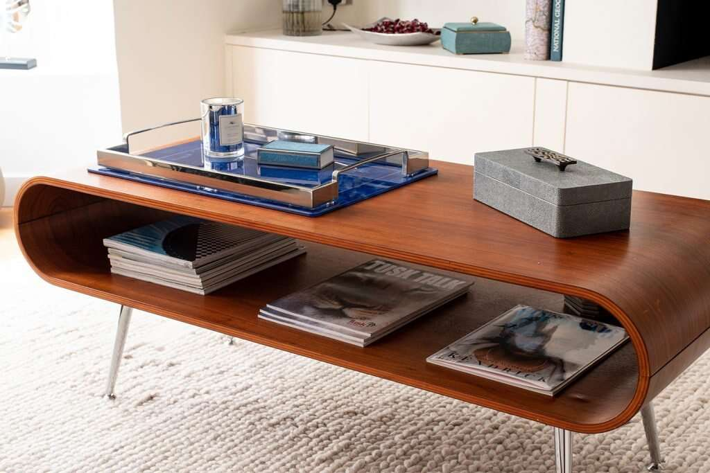 remote control box and lapis lazuli drinks tray on coffee table
