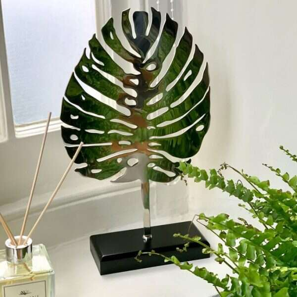 stylish leaf sculpture in stainless steel
