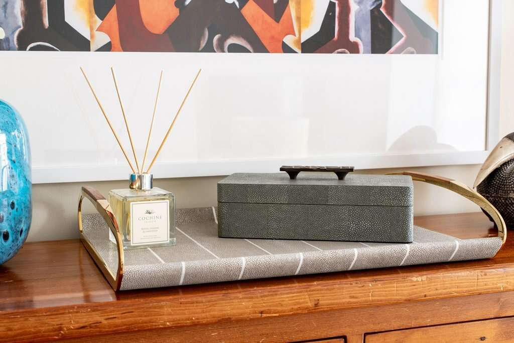 Remote control storage box and shagreen drinks tray