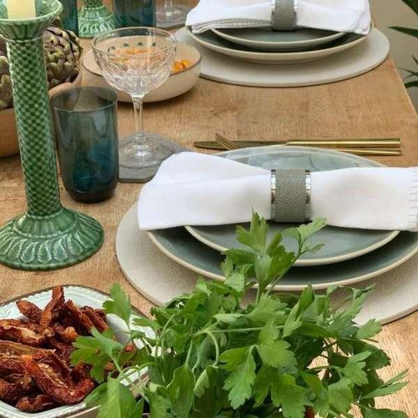 Rachel Winham place mats in dinner table setting