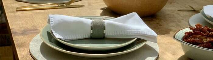 napkin rings and placemats in shagreen at a set dining table