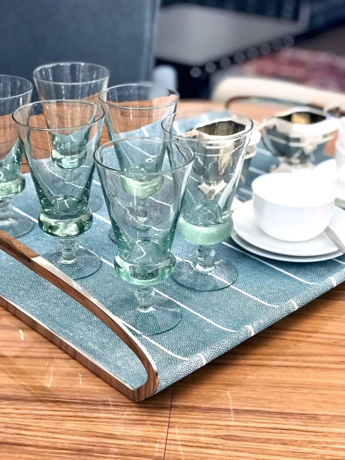 Jules Serving & Drinks Trays in Teal Shagreen by Forwood Design 9