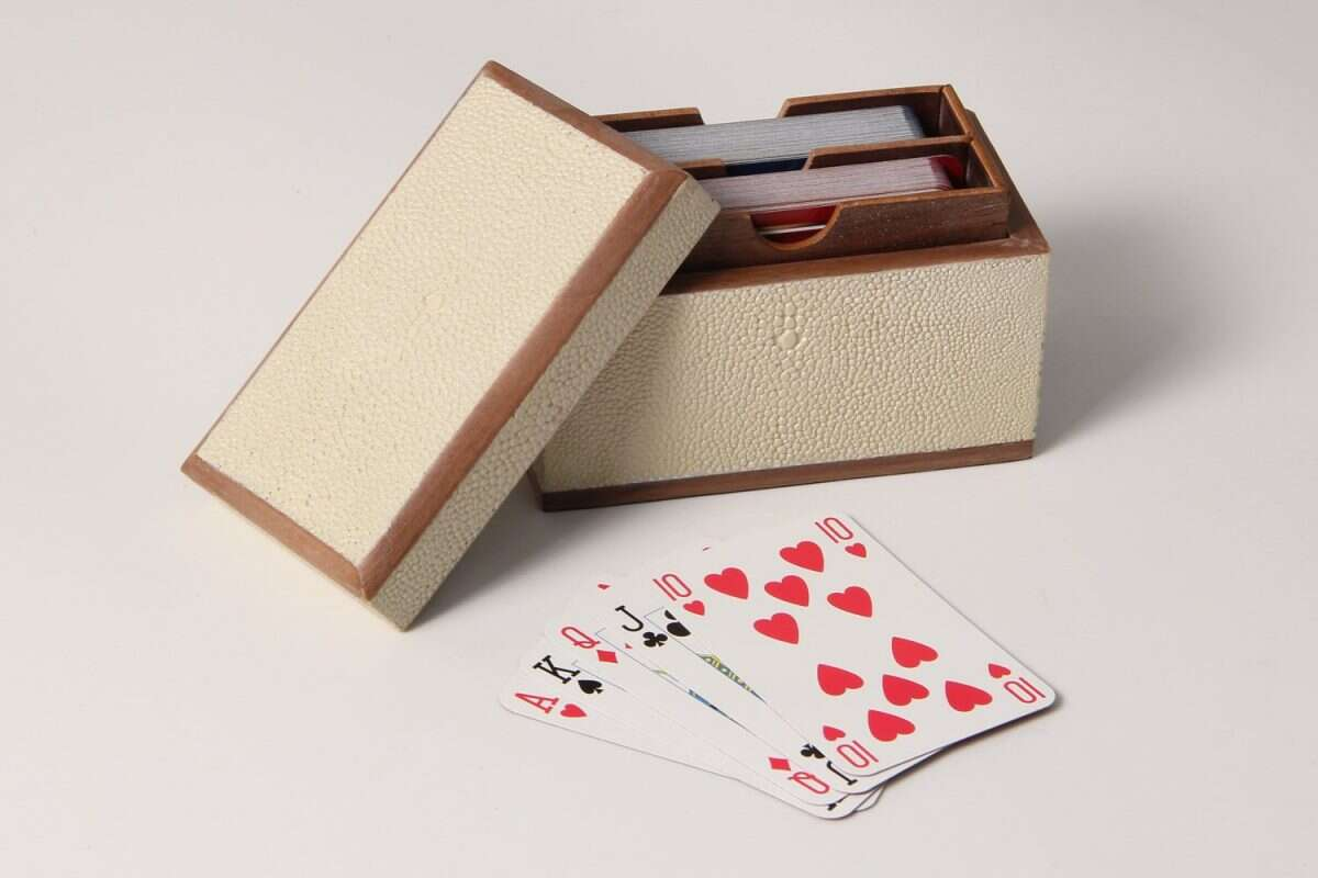 Playing Card Box in Almond White Shagreen by Henry Forwood