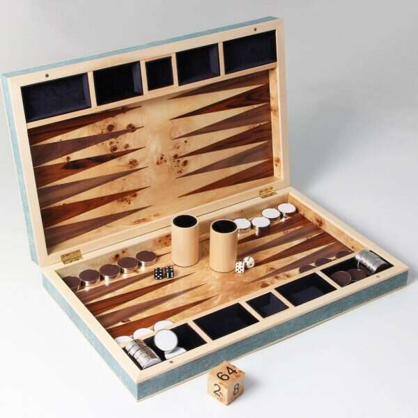 Backgammon Board in Teal Shagreen and Sycamore 3