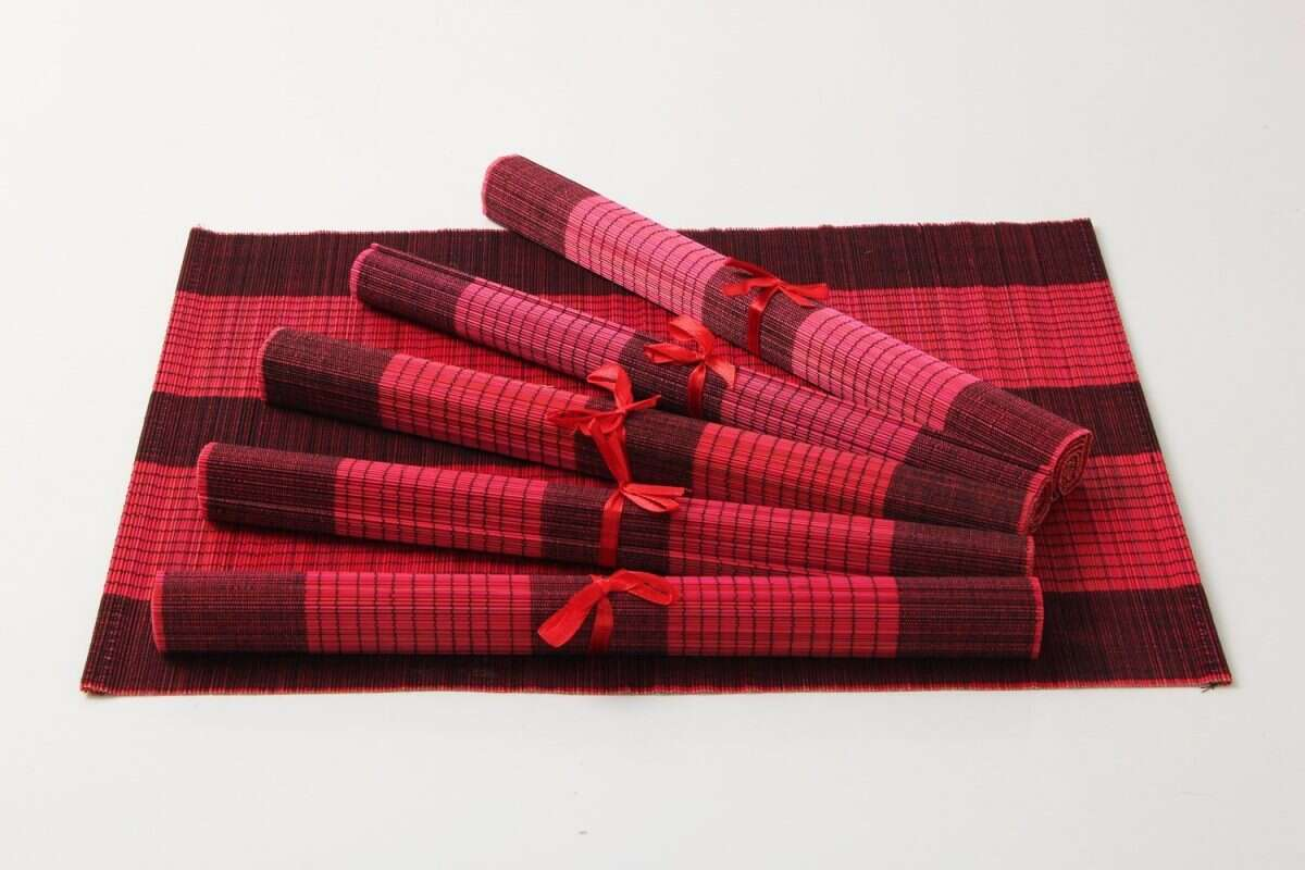 Crimson Red Bamboo Placemats 1